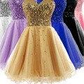 A Line net Sweetheart Sleeveless Sequined Short Mini bridesmaid dresses Wedding party dresses robe de soiree