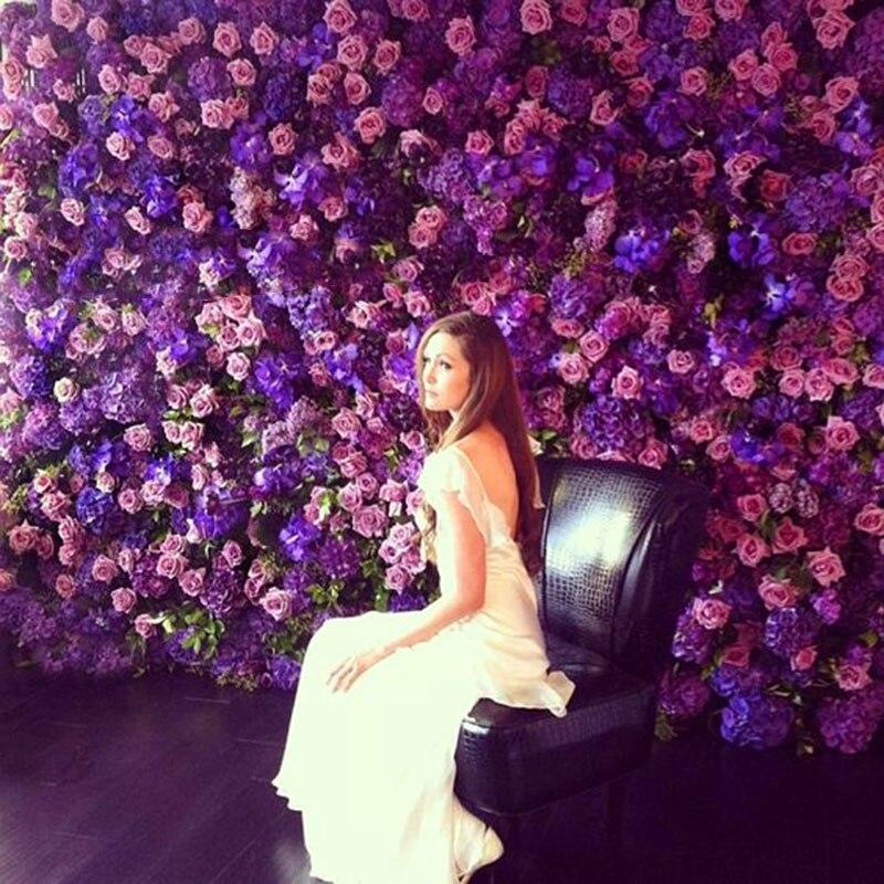 60*40cm Artificial Flowers DIY Fabric Silk Flowers Wall Wedding Decoration Fake Rose Flower Birthday Party Backdrops Supplies