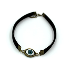 2018 New Fashion Punk Style Black PU Leather Blue Lucky Eye Choker Necklace collares Jewelry Wholesale