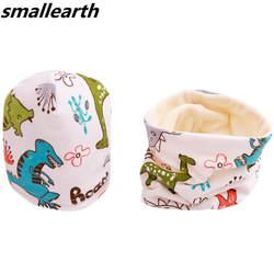 Новый хлопковый плюшевый комплект для девочек: шапка и шарф с рисунком совы, звезд, фруктов, шапочки для маленьких мальчиков, детская шапка