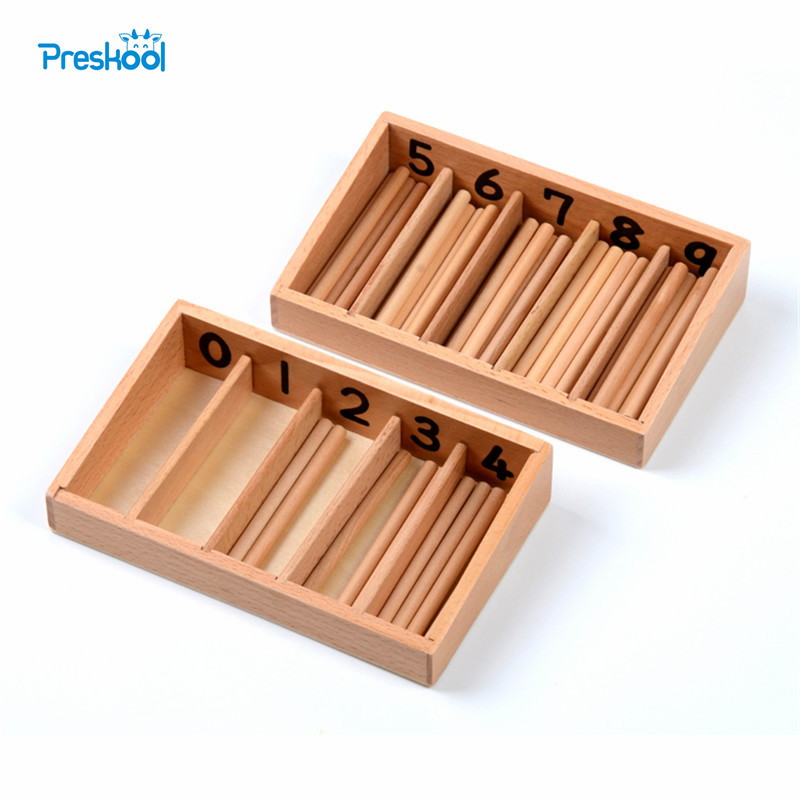 Family Version Baby Toy Spindel Box met 45 Spindels Montessori Wiskunde Leren en Educatief Educatief Speelgoed Spindel Rod