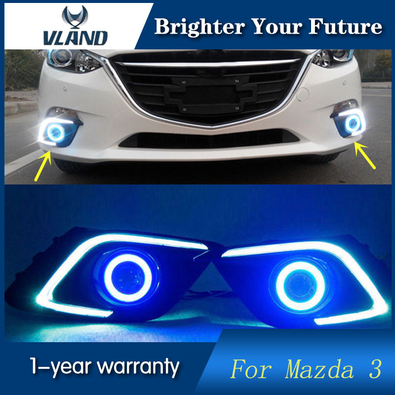 Car styling for Mazda 3 Axela 2013 2014 2015 Daytime Running Lights DRL Fog Light Angel Eyes car led daytime running light for mazda 3 axela fog lamp drl 2010 2011 2012 2013 white yellow