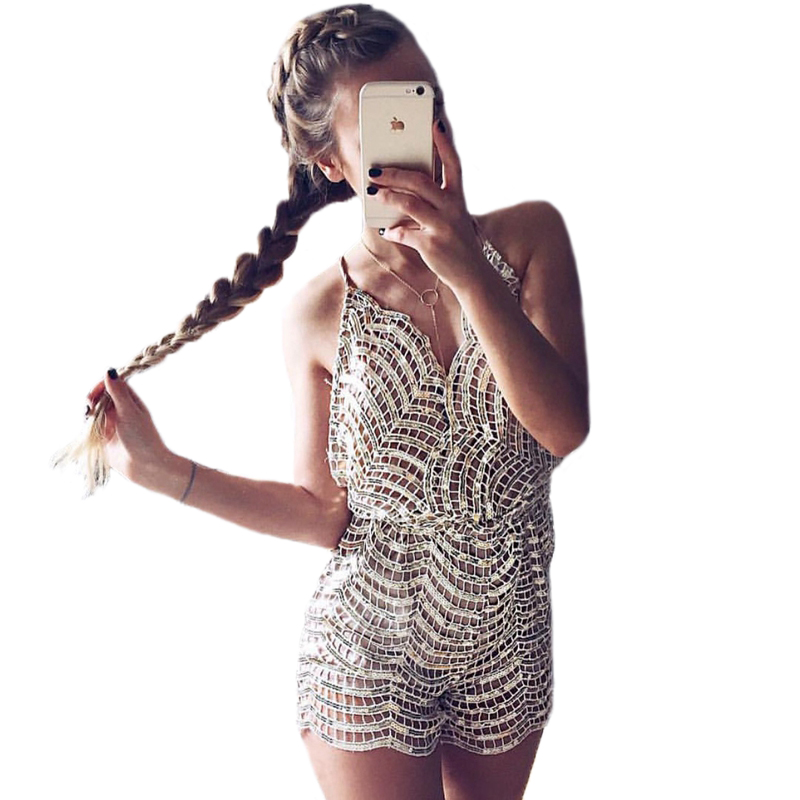 sequin summer jumpsuit sleeveless backless spaghetti strap new women jumpsuits rompers sexy lace playsuit Macacao Feminino