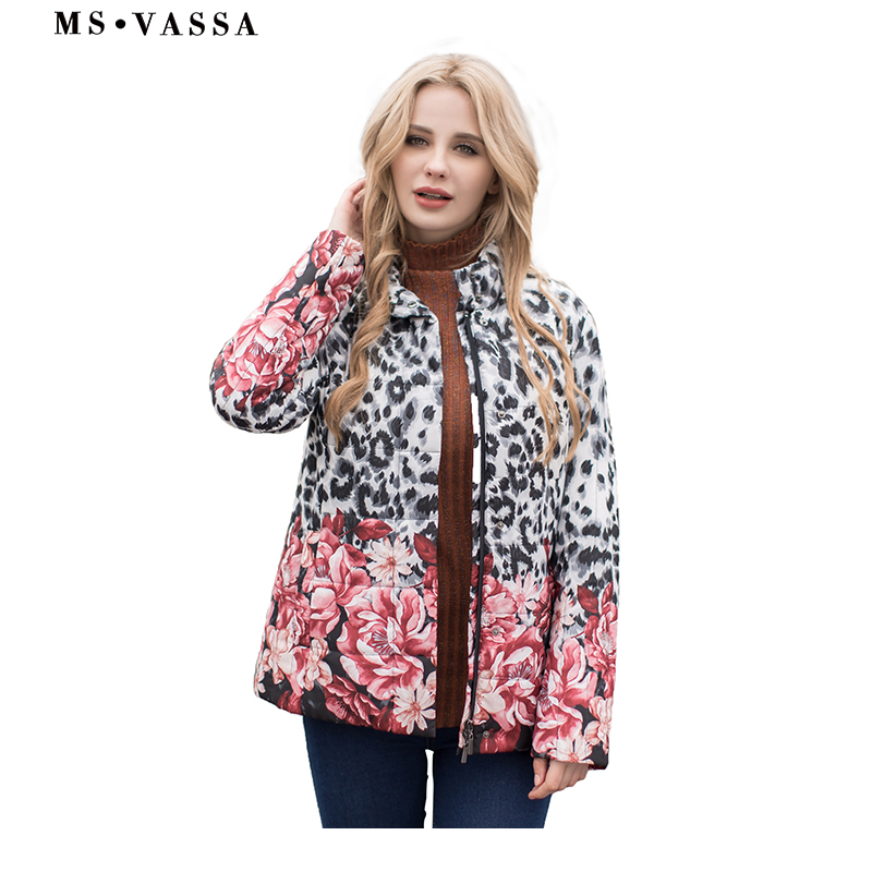 MS VASSA Ladies Jacket Autumn Winter Women   Parkas   placement print Padding jackets plus size 4XL 6XL stand up collar outerwear