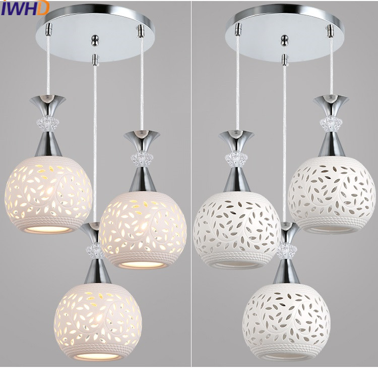 IWHD Modern Luminaire Suspendu Ceramic Led Pendant Lights Dining Kitchen Light Hanging Lamp Home Lighting Fixtures iwhd modern luminaire suspendu iron led pendant light fixtures dining kitchen hanging lamp home lighting creative design lamp