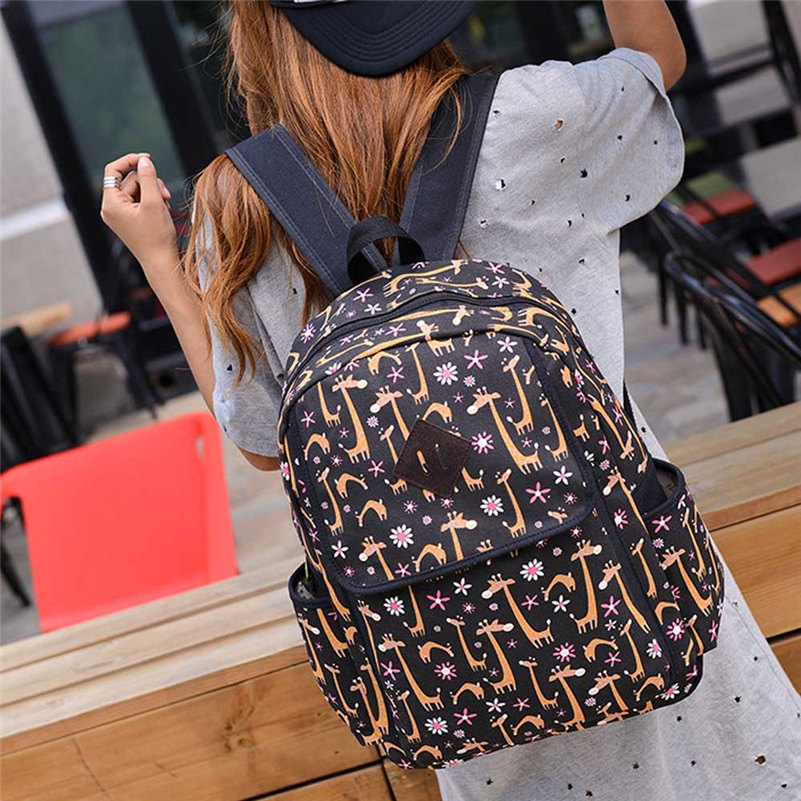 Fashion Women Canvas Backpacks Lovely Printing Schoolbag Lightweight Easy To Carry Rucksack Travel Shoulder Bag