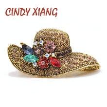 CINDY XIANG-broches de diamantes de imitación de Color dorado antiguo para mujer, accesorios de boda, alta calidad