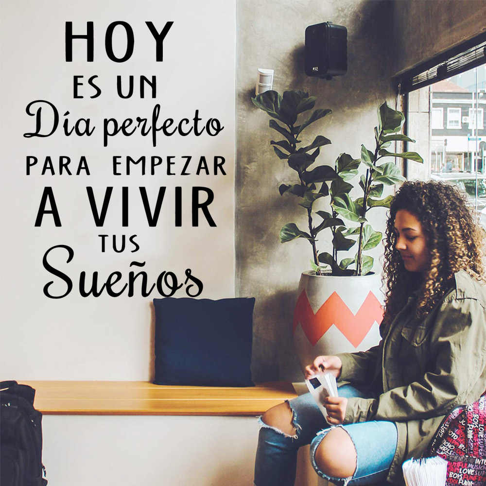 Creative spanish sentences vinyl Wall Sticker For Living Room Art Decals decoration chamber Mural adesivo de parede
