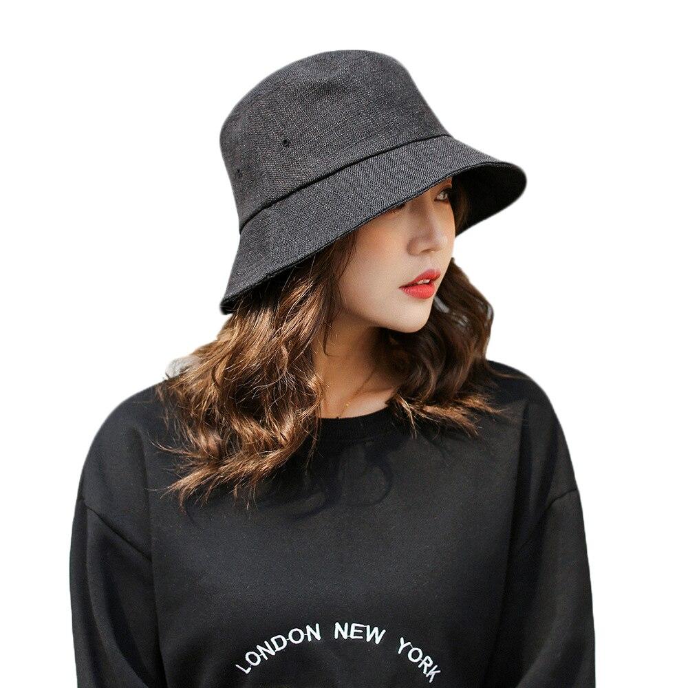 2018 Female New Pure Color Bucket Hat Fisherman Hats Men ...