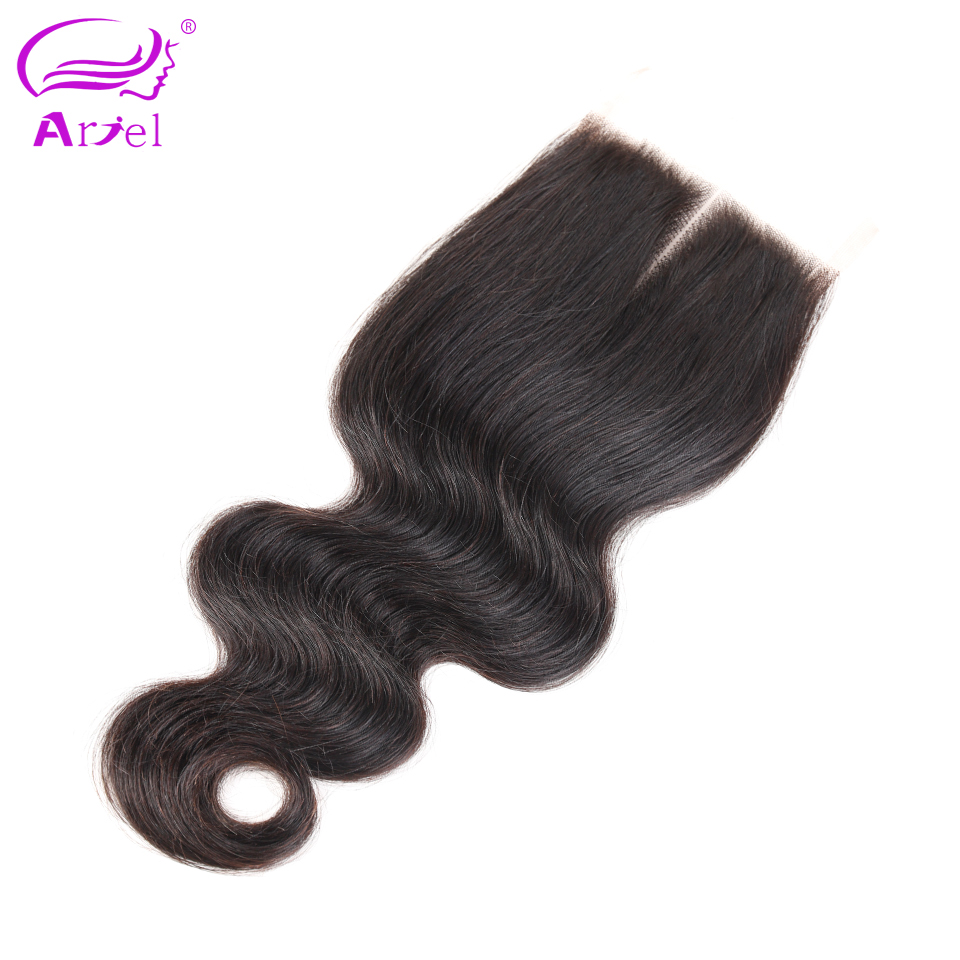 Ariel brazilian lace closure body wave 4 4 100 remy human hair closure middle part free