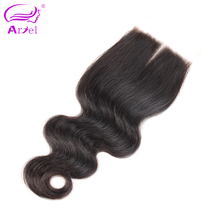 Ariel Brazilian Lace Closure Body Wave 4*4 100% Remy Human Hair Closure Middle Part Free Shipping
