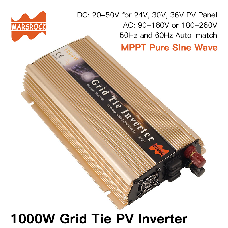 Micro onduleur à grille 1000 W, 20V-50VDC, 90 V-140 V ou 190V-260VAC, utilisable pour panneau solaire 1200 W, 24 V, 30 V, 36V ou système éolien