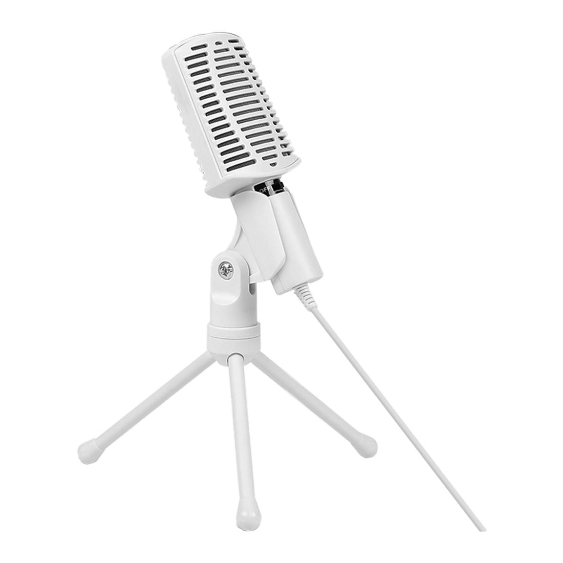 SF-940 Professional 3.5mm Condenser Sound Podcast Studio Microphone Mic with Tripod Stand For Desktop PC Notebook MSN(White)
