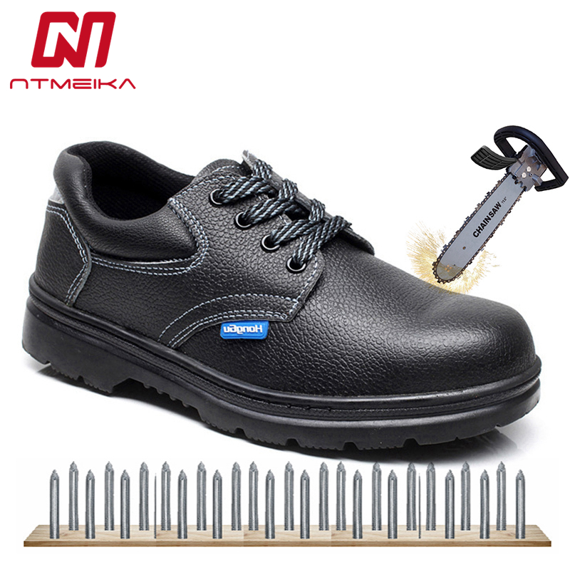 Plus Size 36-46 Genuine Leather Work Safety Shoes Men Steel Toe Waterproof Work Shoes For Men High Quality Men Safety Boots image