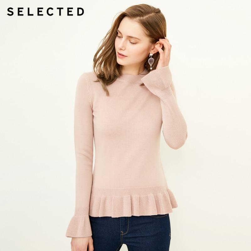 SELECTED Ms Sweet falbala hedge long sleeve knit sweater S 418124505