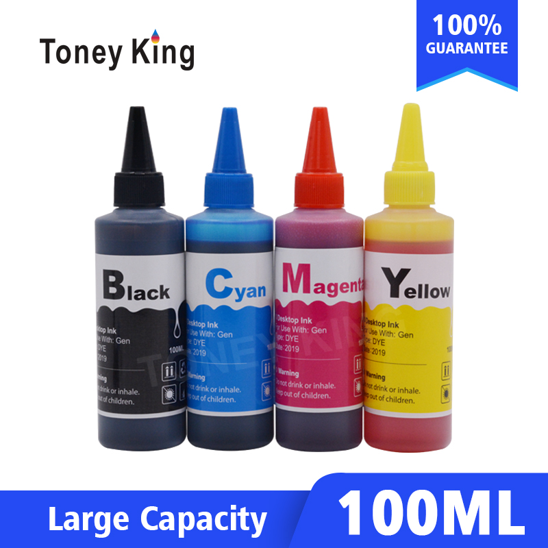 Toney King 100ml Printer Ink For <font><b>HP</b></font> 123 122 121 302 301 304 300 140 141 21 22 <font><b>652</b></font> 650 XL 63 63xl Ink Cartridge Bottle <font><b>Refill</b></font> <font><b>Kit</b></font> image