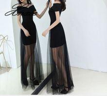 Black dress female 2019 new slim sexy banquet elegant word shoulder long section