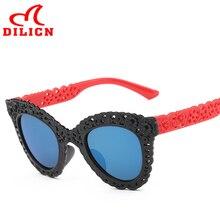 DILICN Blue Lens Unbreakable Children Sunglasses Girls Hollow Flower Party Favors Kids Sun Glasses Baby Boy Casual UV400 Eyewear