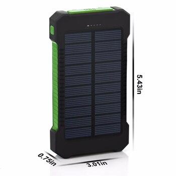 Высокая емкость 20000 мАч солнечная батарея повербанк Внешняя батарея зарядное устройство с двумя портами зарядное устройство для мобильног...