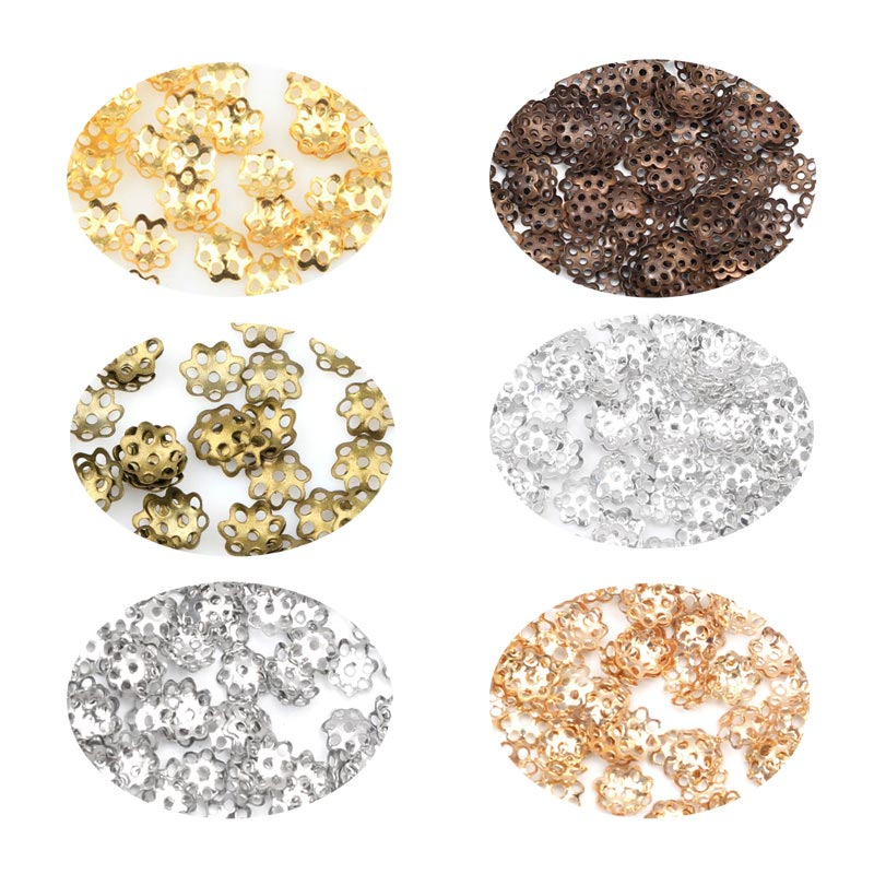 1000pcs 6mm Flower Beads Caps Diy Jewelry Finding Loose Spacer Beads End Caps For Jewelry Making Accessories