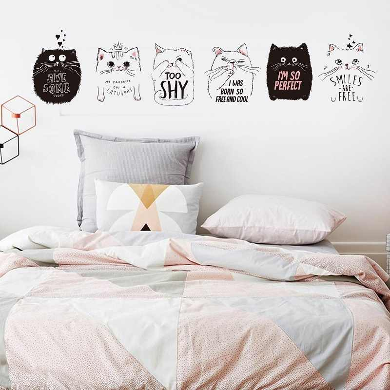 Lovely Black and White Cartoon Cat and Letter Wall Toilet Stickers Living Room Bedroom Children's Room Dormitory Decorative DIY