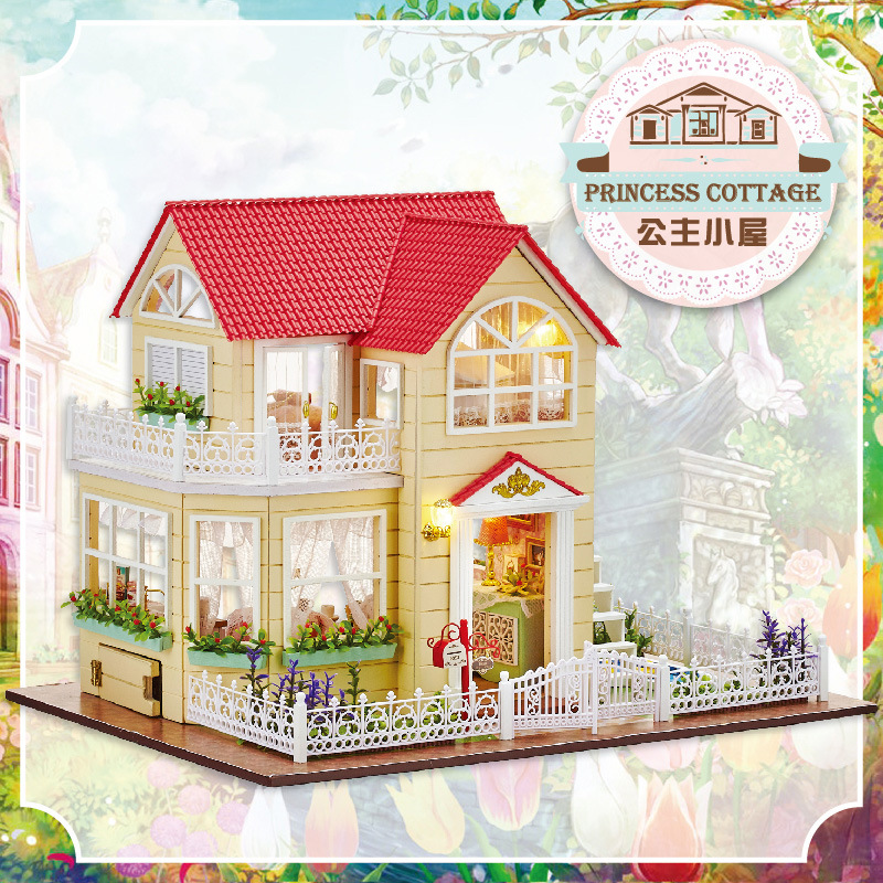 Princess A033 DIY house villa model Diy Wooden Doll House With Furniture ,Light Model Building Kits 3D Miniature Dollhouse