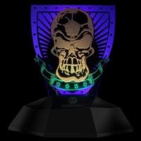 Soccer Skull Tattoo Night Lamp LED Skull Decorative Lights Football Skeleton with Shield Touch Sense Desk Lamp