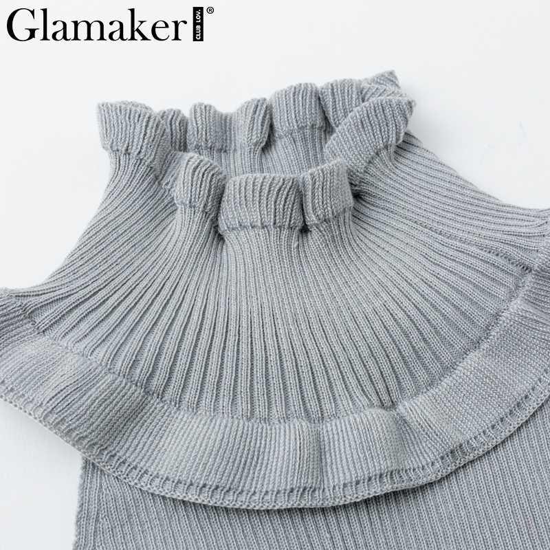 Glamaker 프릴 콜드 어깨 터틀넥 섹시한 스웨터 여성 고삐 긴 소매 풀오버 니트 backless 여름 파티 점퍼