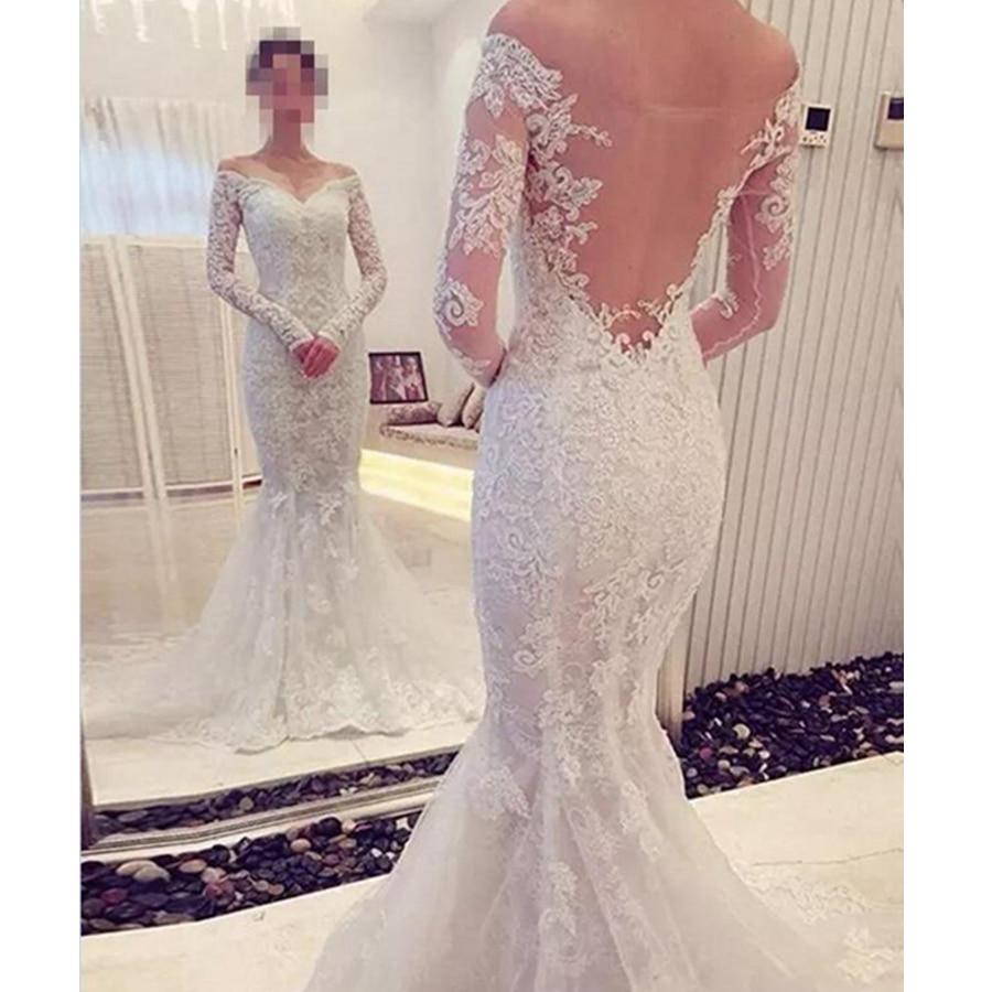 Sheer Lace Applique Long Sleeve Wedding Dress V Neck: 2019 New V Neck Mermaid Wedding Dresses Long Sleeve Sheer