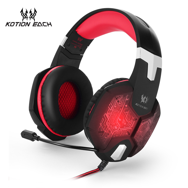 KOTION Each G1000 Red Blue Green Wire Gaming Headset headphone with microphone Gaming Headset With mic Headpehone For  Computer g1100 3 5mm pro gaming headset headphone for ps4 laptop crack pattern led led blue black red white