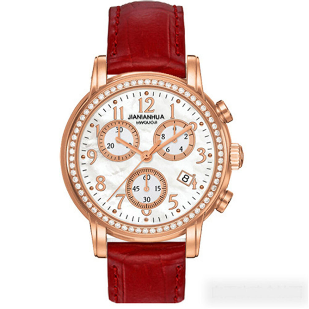 Carnival Sports Quartz Watch Women Shell Dial Sapphire Glass Leather Strap Rhinestone Day Date Ladies Clock Montres Femme Hot holuns watch women sapphire glass white dial quartz waterproof multicolor red leather strap watch