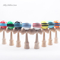 Striped Kendama Colorful Painted Traditional Wooden Toy Ball Skillful Game Juggling Ball Gift For Children Adult