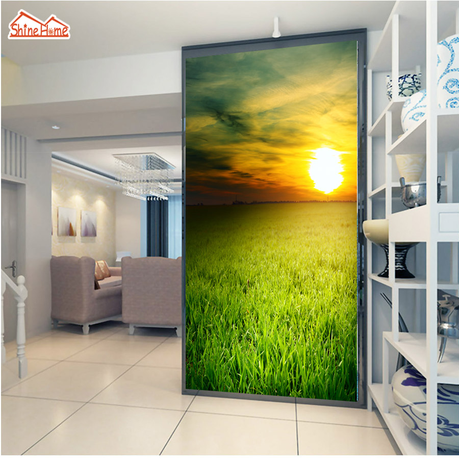 ShineHome-Fresh Grassland Sunset Green Nature 3d Room Wallpaper Rolls for Walls 3 d Living Room Wallpapers Mural Roll Wall Paper shinehome seascape forest lake in sunset wallpaper rolls for 3d walls wallpapers for 3 d living rooms wall paper murals roll