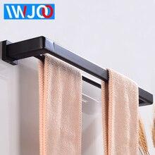 Towel Bar Holder Aluminum Double Bathroom Rack Hanging Black Wall Mounted Restroom Clothes Robe