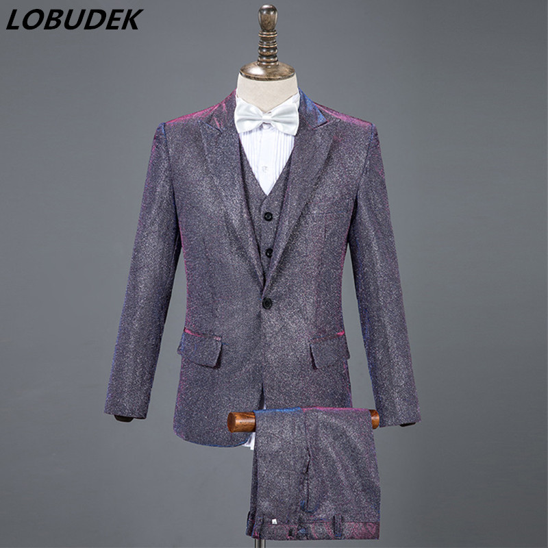 Latest Fashion Men's Suits Purple Blue Gray 3 Piece Sets Formal Wedding Clothing Singer Host Stage Costume Performance Outfits