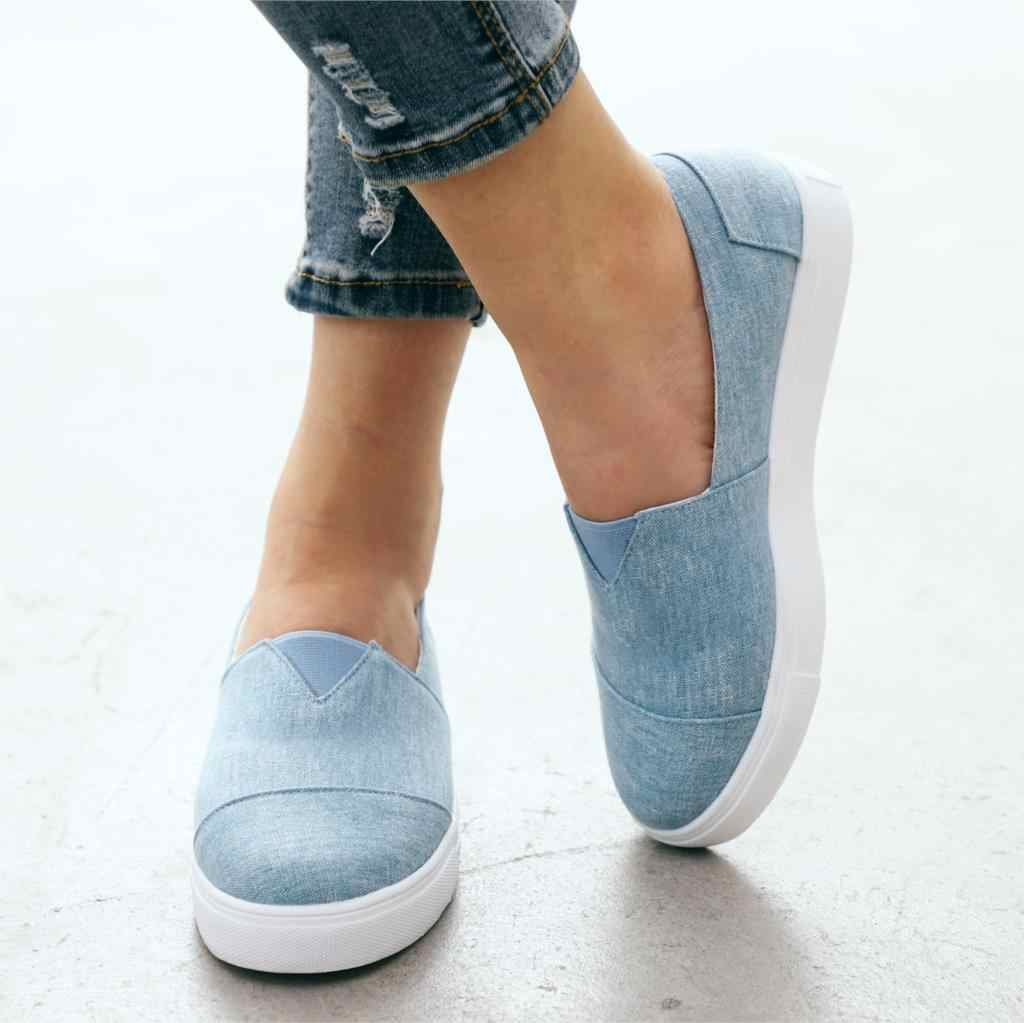 HEFLASHOR נשים דירות נעליים להחליק על מקרית גבירותיי בד נעלי נעלי אישה דירות גבירותיי לבן נעלי מוקסינים 2019
