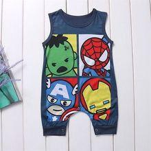 Cute Newborn Infant Baby Boys Girls Cartoon Superhero Cotton Romper Jumpsuit Sleeves Playsuit Toddler Kids Clothes Outfit стоимость