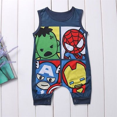 Cute Newborn Infant Baby Boys Girls Cartoon Superhero Cotton   Romper   Jumpsuit Sleeves Playsuit Toddler Kids Clothes Outfit