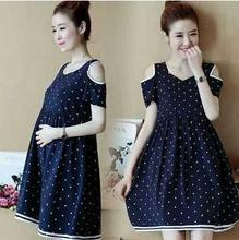Cotton Strapless Dot Maternity Dresses 2019 Summer New Short Sleeve Dress for Pregnant Tops Clothes Women QL6201