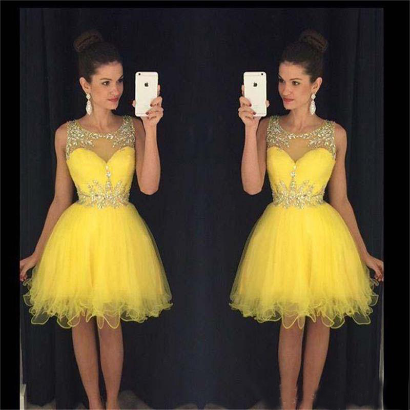 Youthful Scoop   Cocktail     Dresses   Beaded Backless Prom Party Gowns Yellow Empire Homecoming   Dresses
