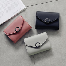 womens wallets and purses  small circle decoration tri-fold simple buckle lychee pattern wallet 2019 student trend