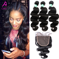 7A Malaysian Virgin Hair Body Wave Silk Base Closure With Bundles 4Pcs Malaysian Body Wave Hair With Closure Cara Hair Products