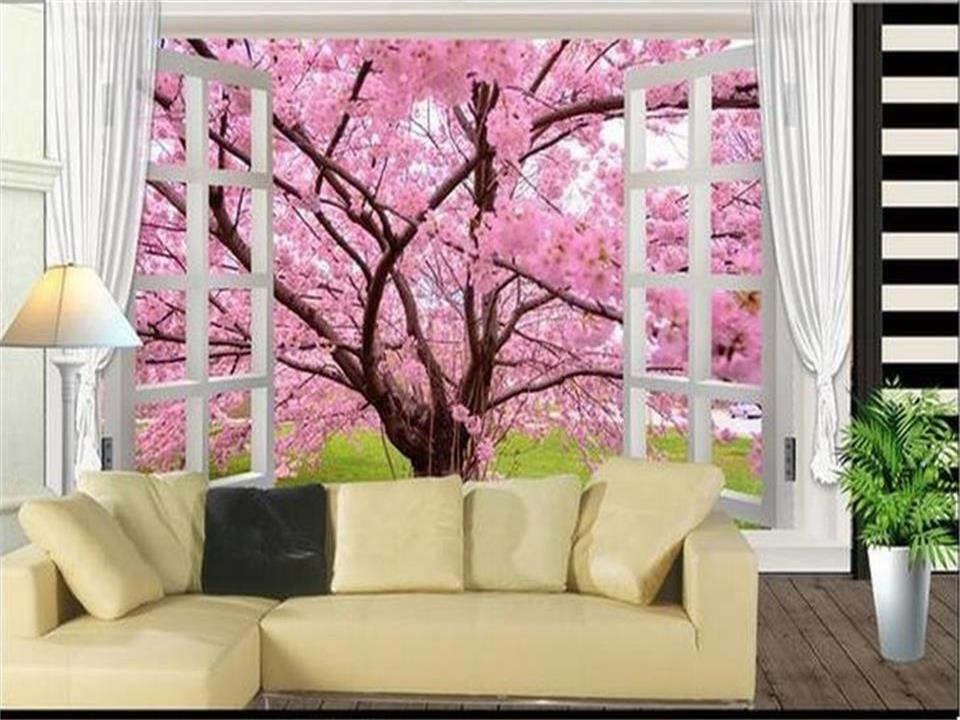 custom 3d photo wallpaper mural living room non-woven sticker cherry tree landscape painting sofa TV background wall wallpaper 3d photo wallpaper custom room mural non woven sticker retro style bookcase bookshelf painting sofa tv background wall wallpaper