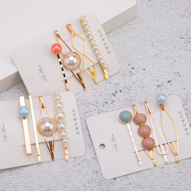 4 piezas horquillas de Metal para mujer, perlas de imitación, cuentas coloridas, pinzas para el pelo, accesorios de moda geométricos irregulares de Corea