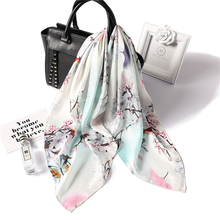 70x70cm Square Scarf Hair Tie Band For Business Party Women Elegant Small Vintage Skinny Retro Head Neck Silk Satin Scarf 70x70cm women square silk scarf fashionable print tiger foulard scarf for women satin headwear cover neck apparel accessories
