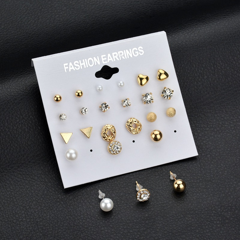 Fashion Korean Ladys Silver Gold Color Tiny Triangle Geometric Heart Crystal Imitation Pearl Stud Earrings Set For Women Girls