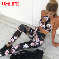 Women Yoga Sets Floral Printed Fitness Gym Sports Suit Workout Running Tracksuit Sportswear Sexy Mesh Leggings
