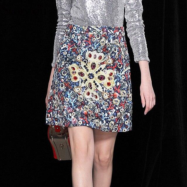 d8ebb621b50e6d Svoryxiu Runway Custom Autumn Jacquard Skirts Women's Gorgeous Printed  Beading Diamonds A Line Mini Skirts