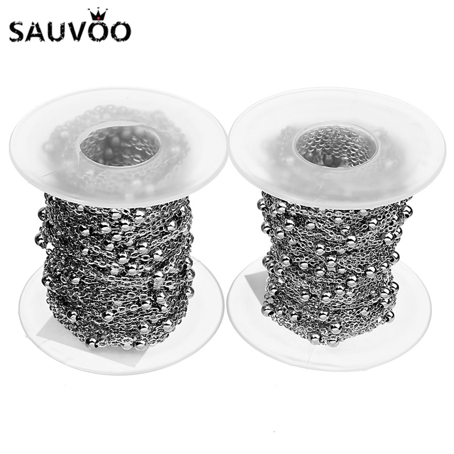 10 Yards 1.5 2mm Stainless Steel Metal Ball Bead Link Chain For DIY Bracelet Necklace Jewelry Making Finding Accessories