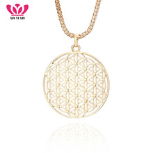 Vintage Big Round Hollow Flower Pendant Necklace Gold Popcorn Chains Long Necklace For Women Sweater Jewelry Party Gifts New vintage flower hollow out beads necklace for women